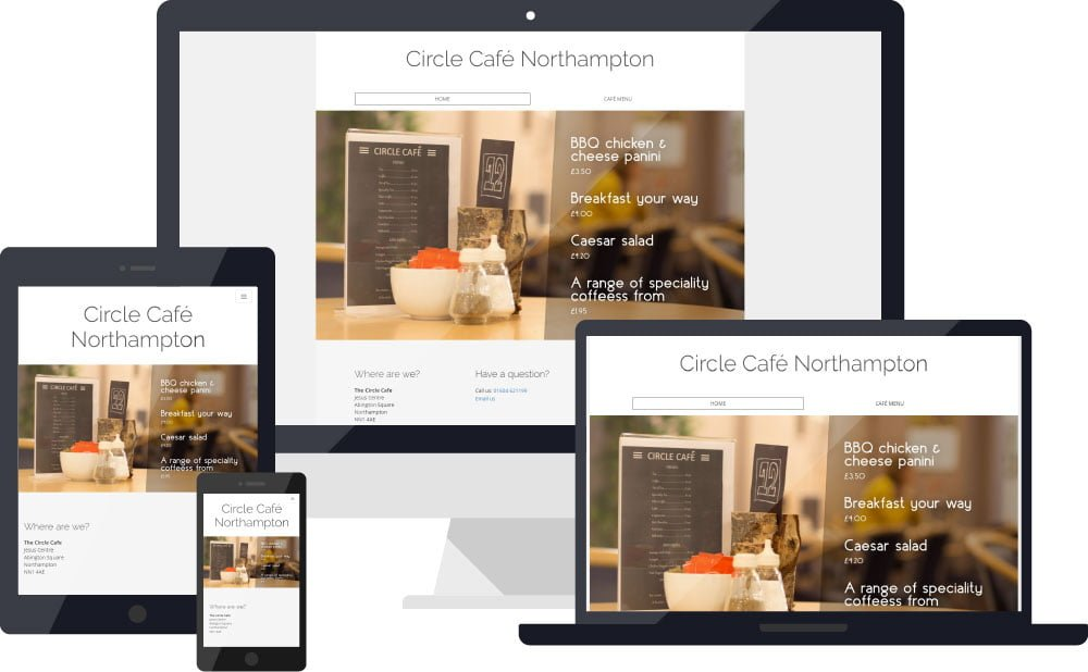 Circle cafe website on various devices