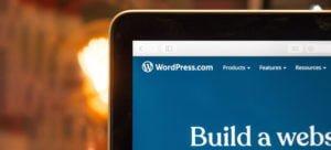 WordPress dashboard on a laptop