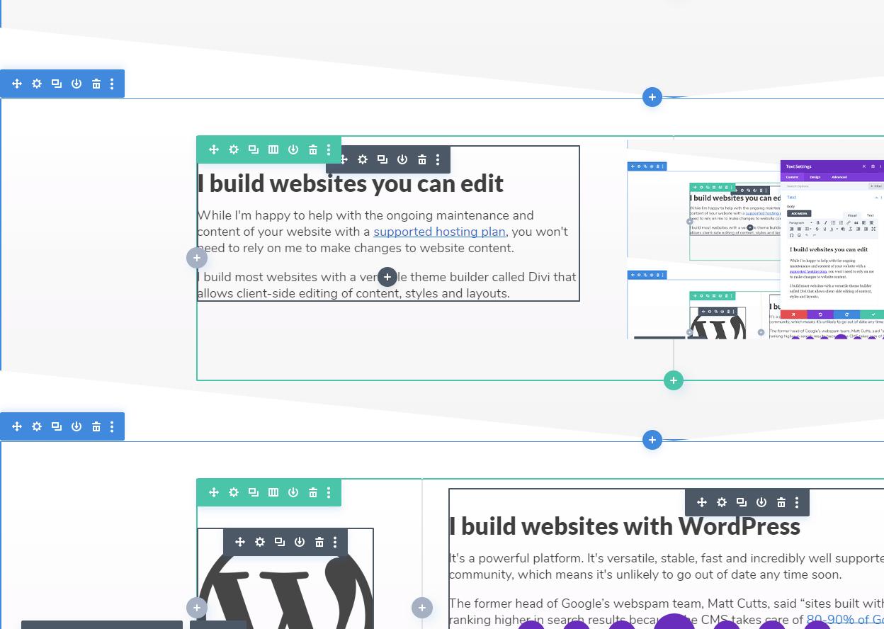 Divi website editing interface