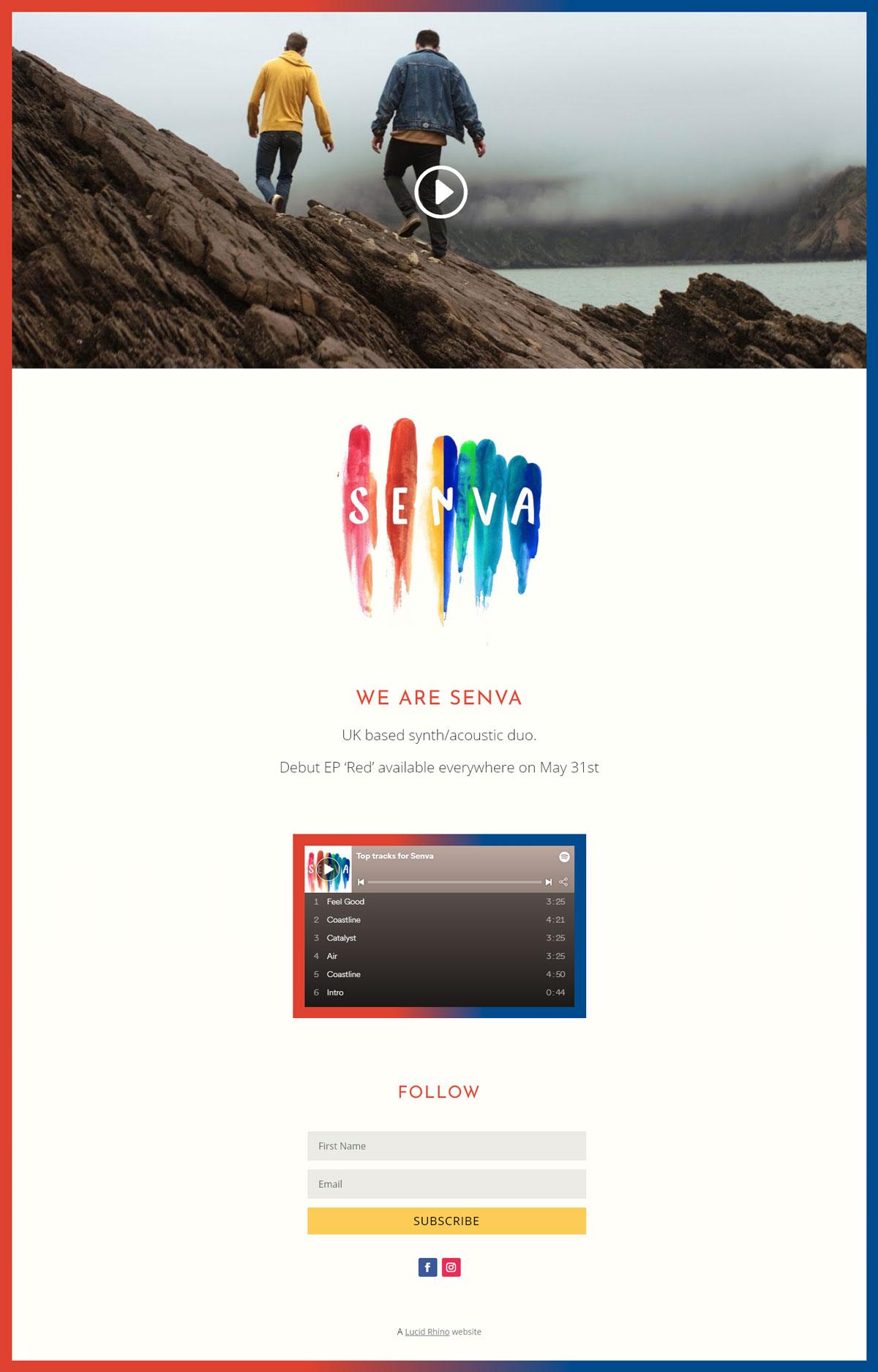 Senva band website homepage