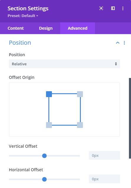 Divi position settings dialog box