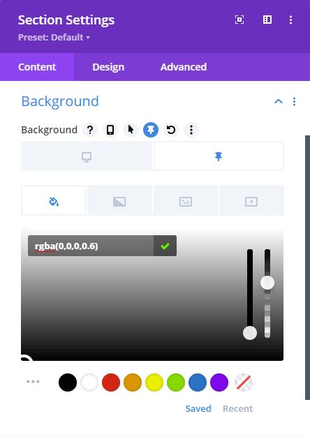 Divi module background settings dialog box