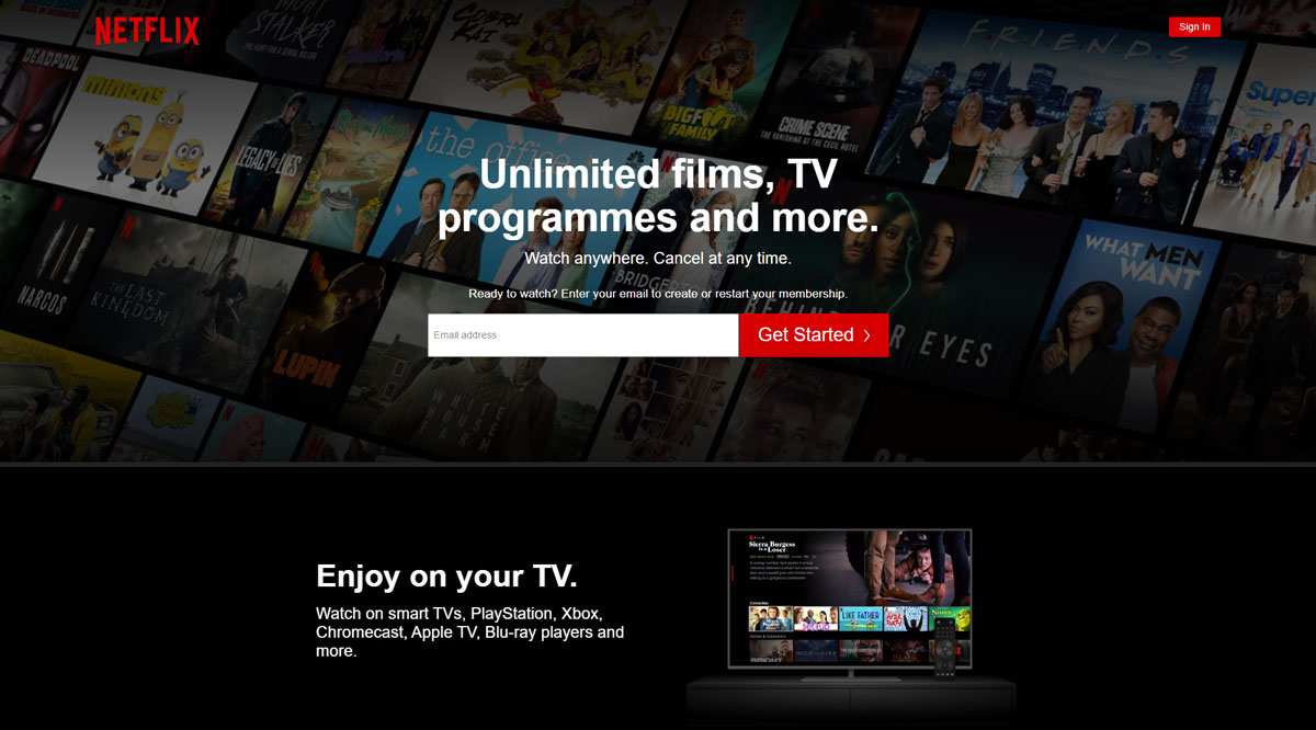 Netflix website design